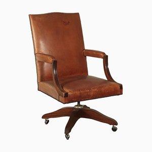 Vintage Italian Mahogany Swivel Chair