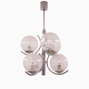 Mid-Century Chrome and Glass Ceiling Lamp