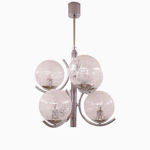 Mid-Century Deckenlampe aus Chrom & Glas