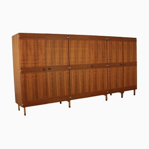 Vintage Italian Walnut Veneer and Rosewood Wardrobe, 1960s