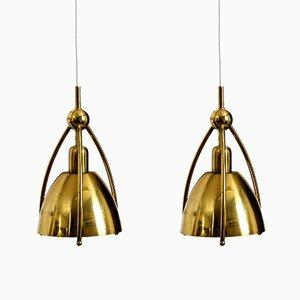 Lampes à Suspension Mid-Century en Laiton de WKR Leuchten, Set de 2