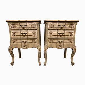 French Bleached Oak Nightstands, 1920s, Set of 2