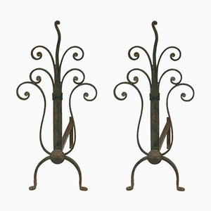 Metal Andirons, 1940s, Set of 2