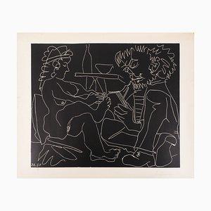 Peintre et Modèle avec Chapeau en Linogravure par Pablo Picasso