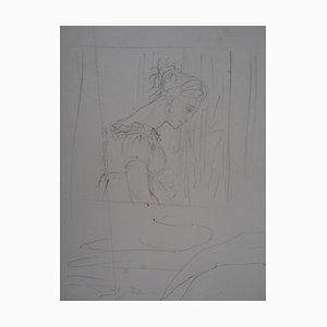 Bei Theatre, Spectator und Saint George Drawing von Edgar Degas