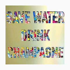 Save Water Drink Champagne Mixed Media Artwork by Aiiroh