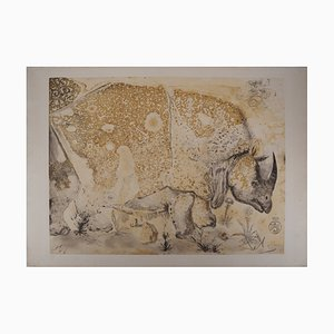 Rhinoceros Etching by Salvador Dali