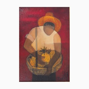 Man with Pineapple Oil Painting by Louis Toffoli