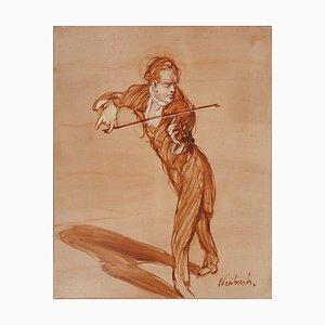 Pittura ad olio Violin, The Soloist di Claude Weisbuch