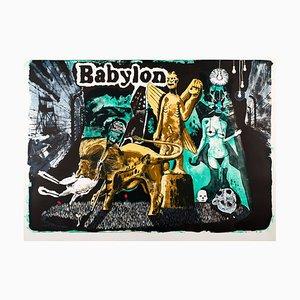 Litografia Babylon di Damien Deroubaix, 2017