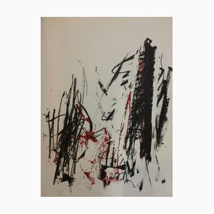 Trees or Composition, Red Lithograph by Joan Mitchell, 1991