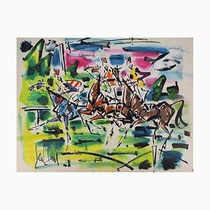 The Jockeys Watercolor by Gen Paul