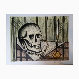 Bernard Buffet - Vanitas with skull, 1985, colour lithograph by engraver Charles Sorlier, proof on Arches paper signed by hand