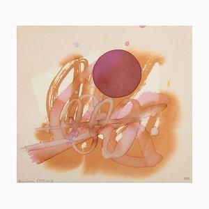 Composition Aquarelle par Luis Feito, 1977