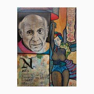 Telefonkarte mit Acrylmalerei von Morris und Picasso Column by Hassan Ertugrul Kahraman