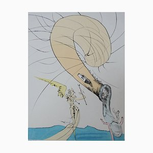 Incisione Psychoanalysis, Freud with the Head of a Snail di Salvador Dali