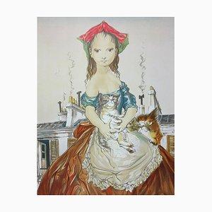 Young Girl with Cats Lithographie nach Leonard Tsuguharu Foujita
