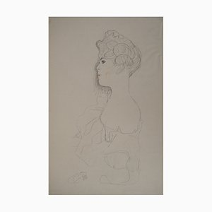 Woman with Bare Shoulders Lithograph by Gustav Klimt, 1929
