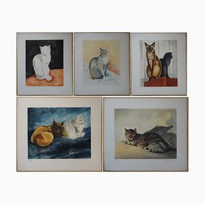 The Cats Engravings by Jacques Nam, 1935, Set of 5