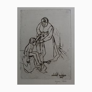 Grandma and Child Etching by Suzanne Valadon