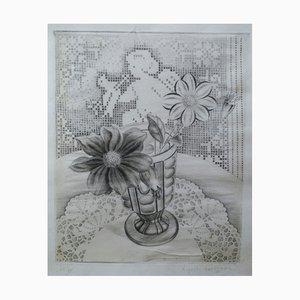 Dahlias with Love Lace Background Engraving by Kiyoshi Hasegawa, 1932