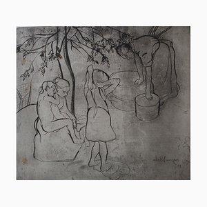 Toilette des Enfants dans le Jardin Engraving by Suzanne Valadon