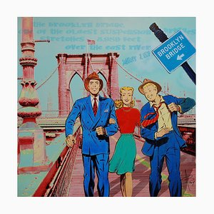 3 Buddies on B.Bridge Mixed Media Artwork by Alan Berg