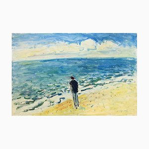 Pittura ad olio Marine Facing the Sea di Jean-Jacques René