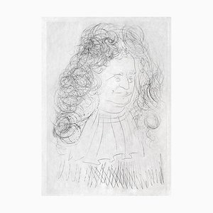 The Portrait of La Fontaine Engraving by Salvador Dali, 1974