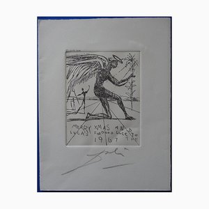Noel, Merry Christmas Etching by Salvador Dali