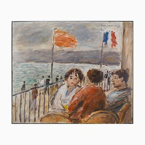 The Terrace in Front of the Seine Oil Painting by Jean Jacques René