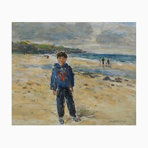 Pittura ad olio The Boy on the Beach di Jean Jacques René