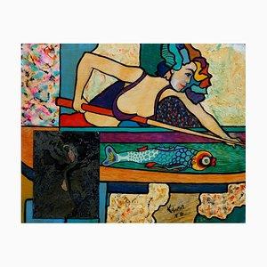 The Billiard Player Acrylic Painting by Hassan Ertugrul Kahraman