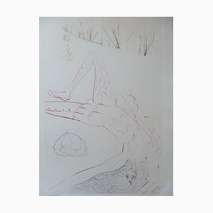 Wounded Tristan Etching by Salvador Dali