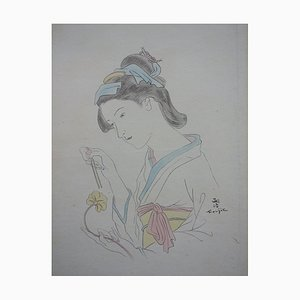 Japanese Woman with Carnation Etching by Léonard Tsuguharu Foujita