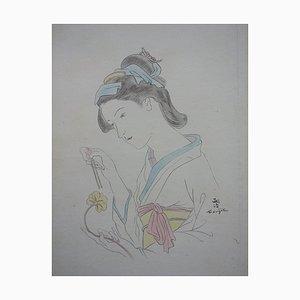 Japanese Woman with Carnation Radierung von Léonard Tsuguharu Foujita