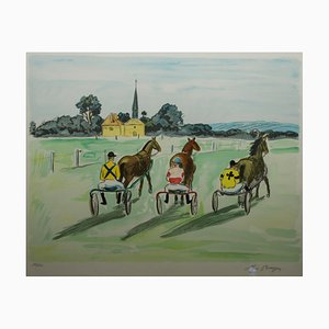 Course De Trot Lithograph by Yves Brayer