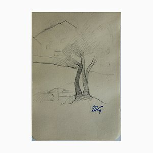 Marie LAURENCIN - Árbol en un paisaje, dibujo original firmado