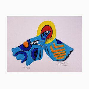 """Guillaume CORNEILLE (1922-2010) """"Two birds in the sun"""" , 2001 Original water etching"""