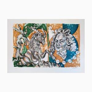 Hans Erni - Dames des Décans Capricorne et portrait de Bach - Lithograph