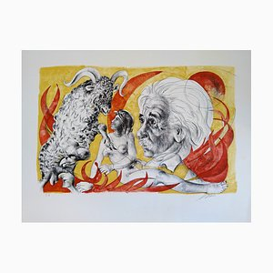 Dames des Décans - Bélier et portrait de Einstein Lithograph by Hans Erni