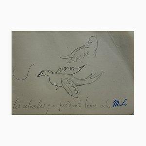 Marie LAURENCIN - Two Doves, Dessin original signé