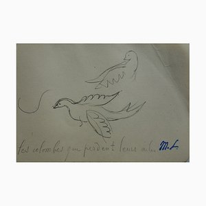 Marie LAURENCIN - Two Doves, Signierte originale Zeichnung