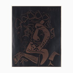 Pablo PICASSO (after) - Head of Histrion, linocut