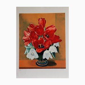 Bouquets de fleurs Lithograph by Moïse Kisling