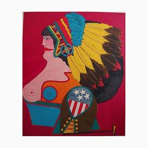 Richard LINDNER : Amérindienne - Lithographie originale Signée