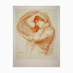 Litografia The Girl of the Wind (Study for Boreas) di John William Waterhouse, 1904