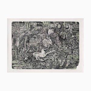 Mascarade Vermoulue - Vert Lithograph by Stéphane Blanquet, 2018