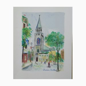 Saint-Germain des Près Color Lithograph by Maurice Utrillo