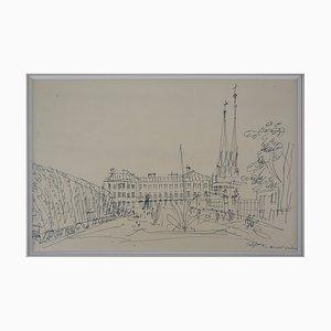 Disegno ad inchiostro Salzburg Square di Jean Dufy